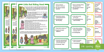 Little Red Riding Hood Differentiated Story and Comprehension Question Cards - EYLF, Literacy resources, oral language, comprehension, question and answer, inference, early years,