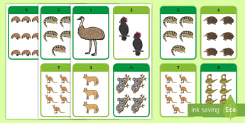 Australian Animal Numbers Flashcards - EYLF, Numeracy, Number, maths, counting, Australia