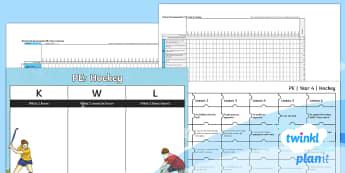 PlanIt PE Year 4 Hockey Unit Assessment Pack - Hockey, assessment, monitoring, progress, marking