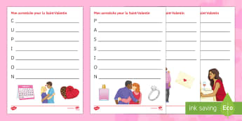Valentine's Day Acrostic Poem French - Valentine's Day, French, 14th February, Saint Valentin, acrostic, poem, acrostiche, amour, poème,F