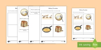 Pancake Recipe Instructions Differentiated Activity Sheets - pancakes, food, instructions, writing