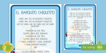 Póster DIN A4: El barquito chiquitito  - canciones, tradicionales, barquito chiquitito,Spanish