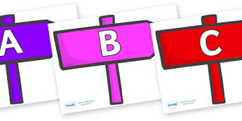 A-Z Alphabet on Signposts - A-Z, A4, display, Alphabet frieze, Display letters, Letter posters, A-Z letters, Alphabet flashcards