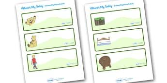 Editable Drawer - Peg - Name Labels (Where's My Teddy) - Where's My Teddy, teddy, woods, forest, lost, bear, reading, story, story book, story resources, Resource Labels, Name Labels, Editable Labels, Drawer Labels, Coat Peg Labels, Peg Label, KS1 La
