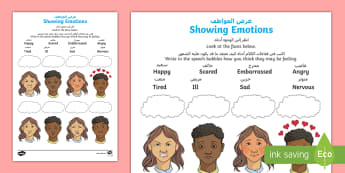 Showing Emotion Activity Sheet Arabic/English - emotion, body language, transition, friendship, behaviour, PSHCE, worksheet, EAL, Arabic.,Arabic-tra