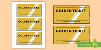 Golden Ticket Editable Writing Template - Golden Ticket Editable Writing Template - write, ticket, edit, writing, literacy, english, role play