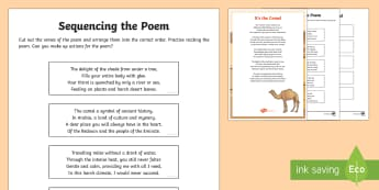 Camel Poem Sequencing Verses Activity Sheet - Science: Living World, camel, poem, English, Literacy, poster, display, rhyme, UAE, middle east, act