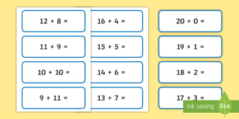 Addition and Subtraction Number Sentences for Number Bonds to 20 Number Cards - Addition and Subtraction Number Sentences for Number Bonds to 20, +, sentance, number bondd, substra