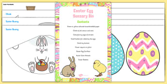 Easter Sensory Bin and Resource Pack - Easter Eggs, Bunnies, sensory bin, resource pack