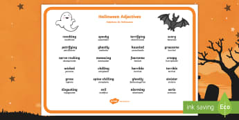Halloween Adjectives Word Mat English/Portuguese - Halloween, adjectives, describing, creative, writing, stories, poems, eal
