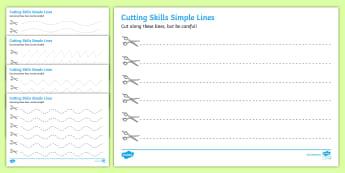 Cutting Skills Worksheets (Lines) - Scissor skills, cutting, cutting worksheet, using scissors, cutting skills, fine motor skills