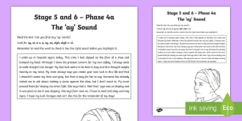 Northern Ireland Linguistic Phonics Stage 5 and 6 Phase 4a 'ay' Activity Sheet - NI, Worksheet, sound search, text