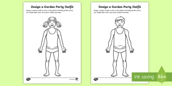 The Queen's Birthday Design a Garden Party Outfit Activity Sheet - KS1 The Queen's Birthday, Key Stage One, Year One, Year Two, Y1, Y2, Year 1, worksheet, Year 2, the