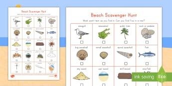 Beach Nature Scavenger Hunt - Beach, Nature, Scavenger Hunt, Ocean, Summer Vacation, Sea, Ocean Life
