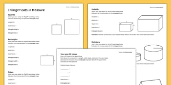 KS3_KS4 Maths Student Led Practice Sheets Enlargements in Measure - maths, KS3, KS4, GCSE, worksheet, practise, independent, growth mindset, measure, transformation, enlargement, scale factor, area, volume, shape