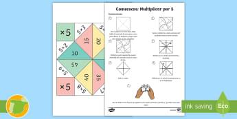 Comecocos: Multiplicar por 5 - juego, mates, matemáticas, por cinco, x5
