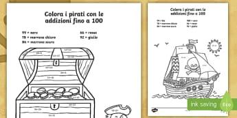 Colora i pirati con le addizioni fino a 100 Attività - colora, con,le, addizioni, fino, a 100, colorare, addizioni, calcoli, semplici, italiano, italian, m