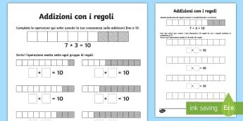 Addizioni con i regoli Attività - addizioni, addizione, operazioni, regoli, matematica, materiale, scolastico, italiano, italian