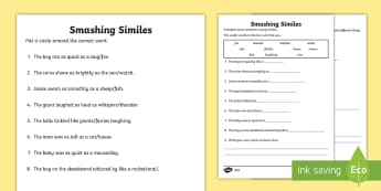 KS1 Smashing Similes Differentiated Activity Sheet - comparing, writing poems, describing nouns, poetry, english, worksheet