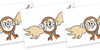 KS1 Keywords on Hullabaloo Owl to Support Teaching on Farmyard Hullabaloo - KS1, CLL, Communication language and literacy, Display, Key words, high frequency words, foundation stage literacy, DfES Letters and Sounds, Letters and Sounds, spelling