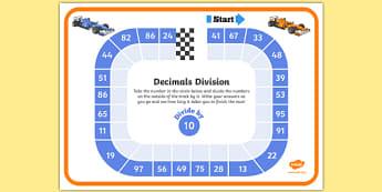 Dividing by 10 Decimals Race Worksheet - dividing, decimals, race, worksheet