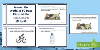 LKS2 Around the World in 80 Days Maths Challenge Cards - The World Challenge, mark beaumont, around the world in 80 days, cycling, world record, maths, opera