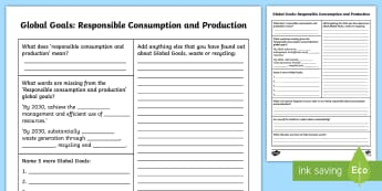 Global Goals Responsible Consumption and Production Fact File - Learning For Sustainability, UNICEF, GG12, waste, recycling,Scottish