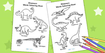 Dinosaur Words Colouring Sheet - dinosaurs, colour, colouring
