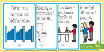 Using the Toilet Signs Gaelige - using the toilet, toilet signs, toilet, signs, posters, sign, poster, roi, gaeilge, republic of ireland