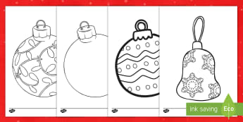 Large Christmas Ornaments Coloring Activity - Christmas, coloring pages, activity, art, ornaments, creativity