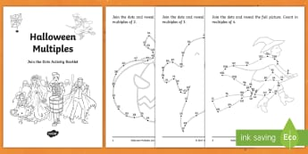 Halloween Multiples Activity Booklet - Maths, multiplication, algebra, activities, Oíche Shamhna, ,Irish