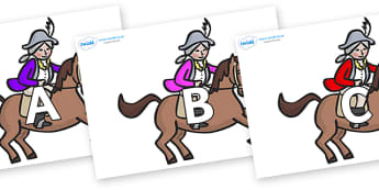 A-Z Alphabet on King's Horses - A-Z, A4, display, Alphabet frieze, Display letters, Letter posters, A-Z letters, Alphabet flashcards