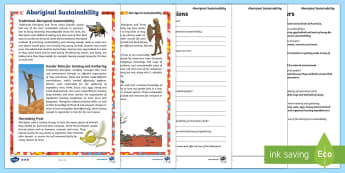 Aboriginal Sustainability Differentiated Reading Comprehension - Aboriginal food, indigenous food, aboriginal history, indigenous history, australian history