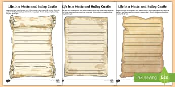 Life in a Motte and Bailey Castle Activity Sheets - ROI The Normans in Ireland, motte and bailey castle. castles, diary entry,Irish, worksheets
