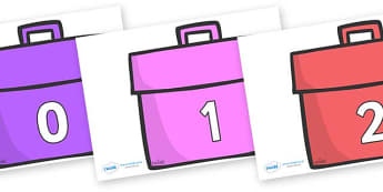 Numbers 0-31 on Book Bags - 0-31, foundation stage numeracy, Number recognition, Number flashcards, counting, number frieze, Display numbers, number posters