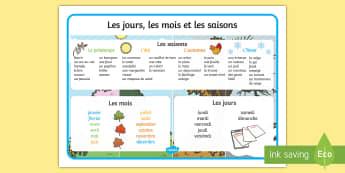 Jours, mois et saisons tapis de mot French - french, days, months, year, seasons, word mat, word, mat
