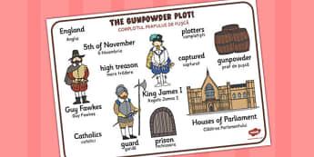 The Gunpowder Plot Word Mat Romanian Translation - romanian