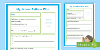 My School Asthma Plan A4 Display Poster - World Asthma Day - 2.5.17, first aid, asthma, breathing difficulties, inhaler, safe, emergency, resp