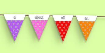 100 High Frequency Words on Bunting (Flowers 2) - High frequency words, hfw, DfES Letters and Sounds, Letters and Sounds, display words