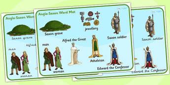 Anglo Saxons Word Mat - anglo saxons, word mat, keywords, history