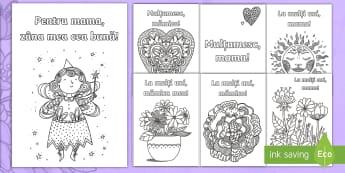 Ziua Mamei - Felicitare mindfulness - ziua mamei, română, felicitări, activități, mindfulness, fise de colorat, pagini de colorat,Rom