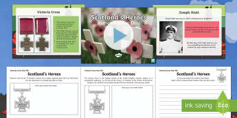 Remembrance Day Scotland's Heroes PowerPoint and Differentiated Activity sheets-Australia