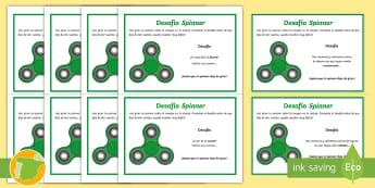 Tarjetas de trivia: Desafío Spinner - creatividad, imaginación, improvisación, reflexión, juego.,Spanish