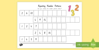 Repeating Pattern Number Activity Sheet - New Zealand, Maths, Moving, pattern