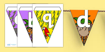 Jungle Themed Alphabet Bunting - jungle themed, alphabet bunting, jungle alphabet bunting, A-Z bunting, A-Z jungle bunting, bunting, alphabet buntin
