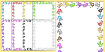 Handprint Page Borders - Page border, border, writing template, writing aid, handprint, footprint, all about me, ourselves, foot, print, hand