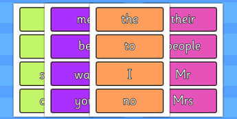 Coloured Phase 2 to 5 Tricky Words Flashcards Pack - phase, tricky words