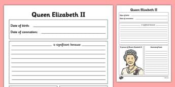 Queen Elizabeth II Writing Frames