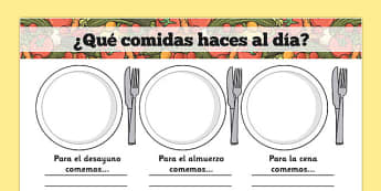 ¿Qué comidas haces al día? Meal Time Writing Templates Spanish - spanish, meal time, writing frame, template, Lunchtime, dinner, breakfast, tea