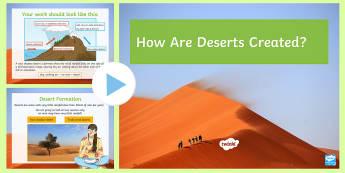 How Are Deserts Created? PowerPoint - deserts, relief rainfall, hadley call, trade Wind Desert, Rain Shadow Desert